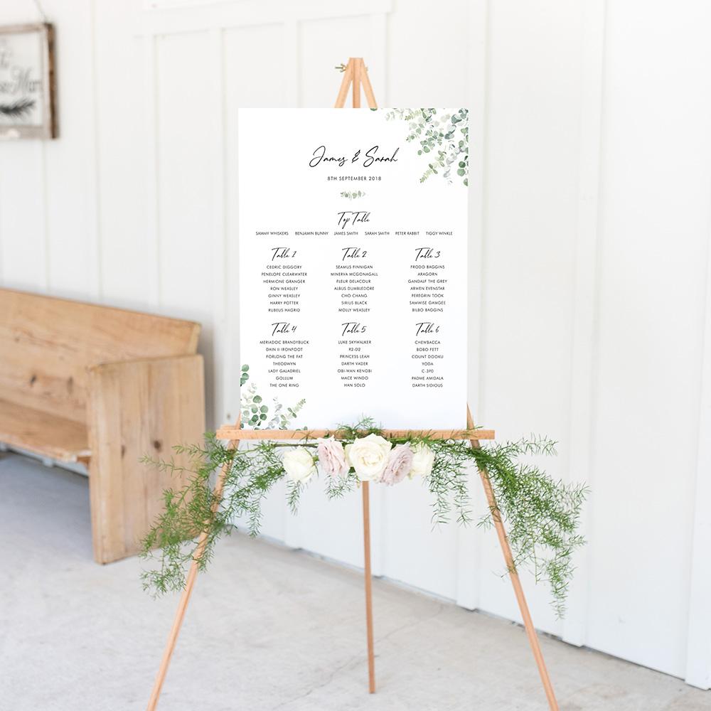 'Classic Eucalyptus' Large White Table Plan A2/A1