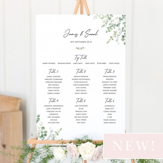'Classic Eucalyptus' Large White Table Plan A2/A1
