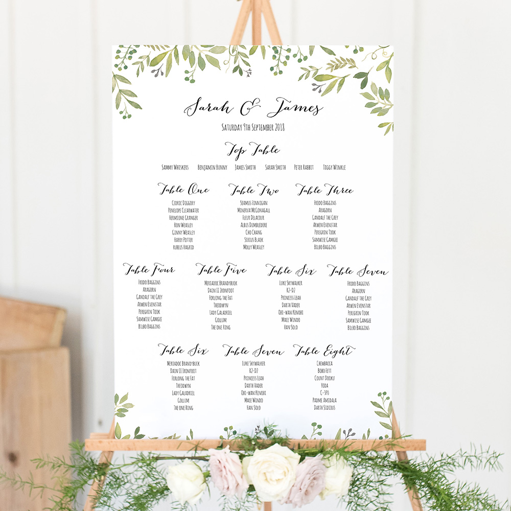 'Green Floral Watercolour' Large White Table Plan A2/A1