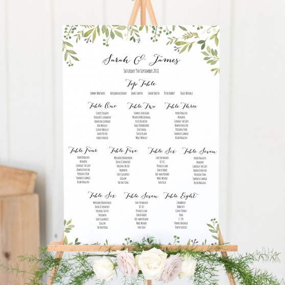 'Green Floral Watercolour' A3 Table Plan