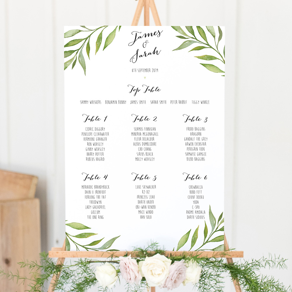 'Green Leaf' A3 Table Plan