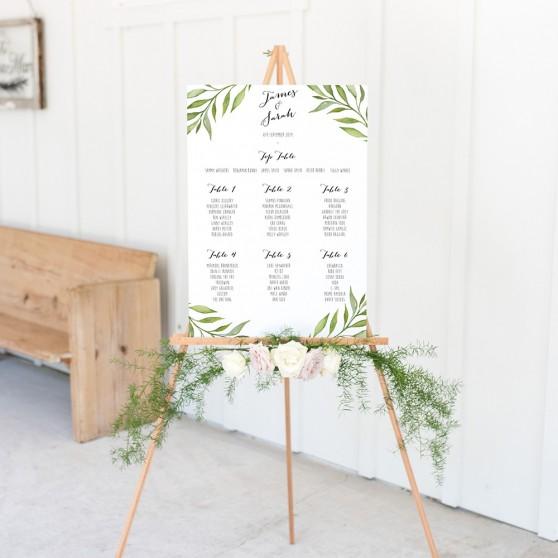 'Green Leaf' A3 Table Plan