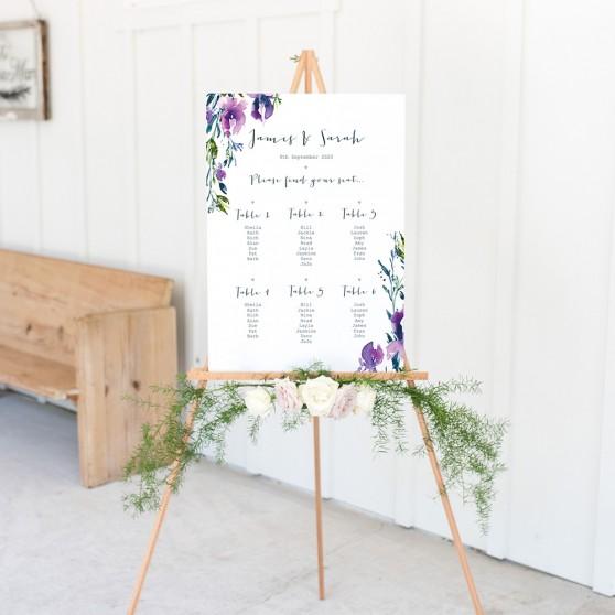 'Midnight Iris' A3 Table Plan