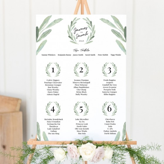 'Olive' A3 Table Plan