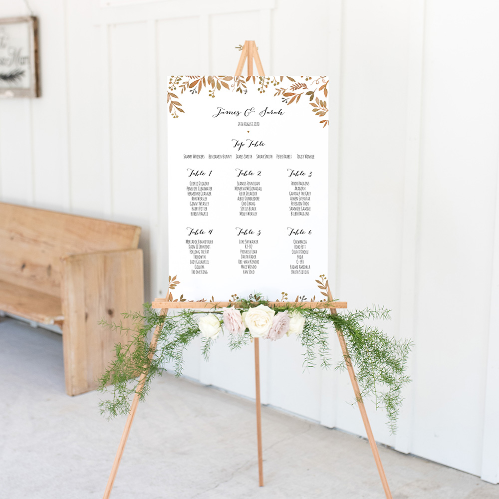 'Russet Floral Watercolour' A3 Table Plan