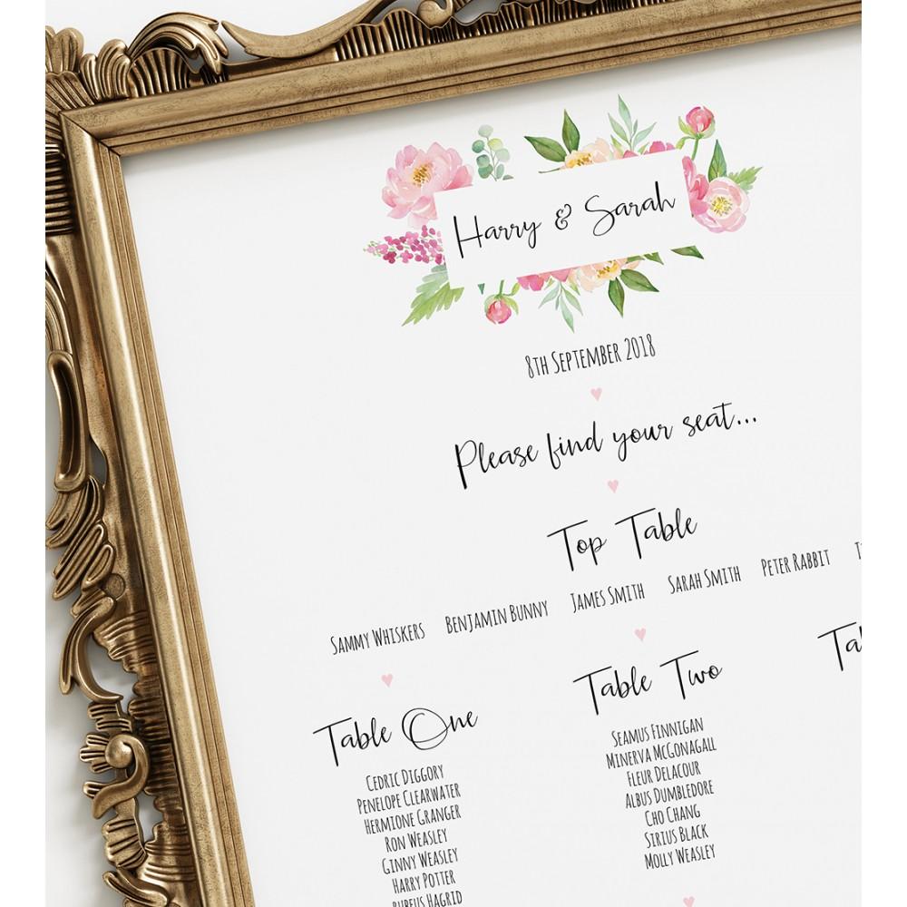 'Peony' A3 Table Plan