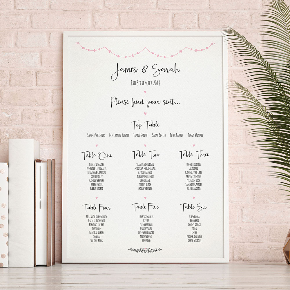 'Pink Heart Bunting' A3 Table Plan