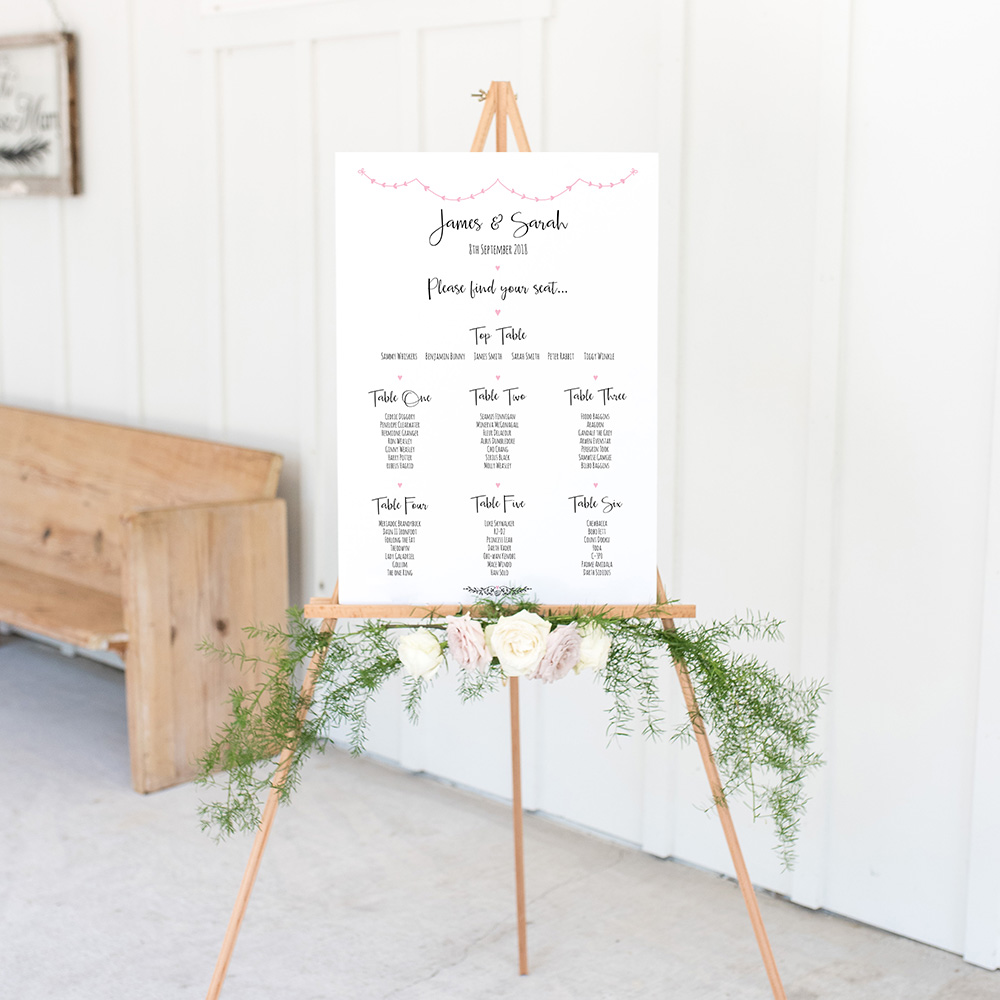 'Pink Heart Bunting' Large White Table Plan A2/A1