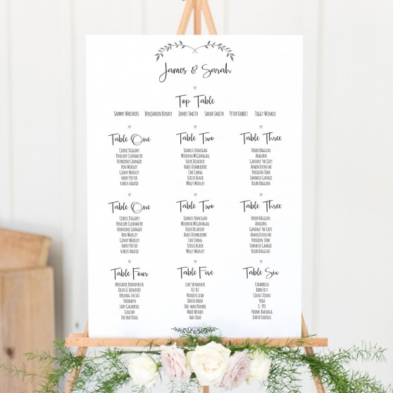 'Pink Ivy Design' Large White Table Plan A2/A1