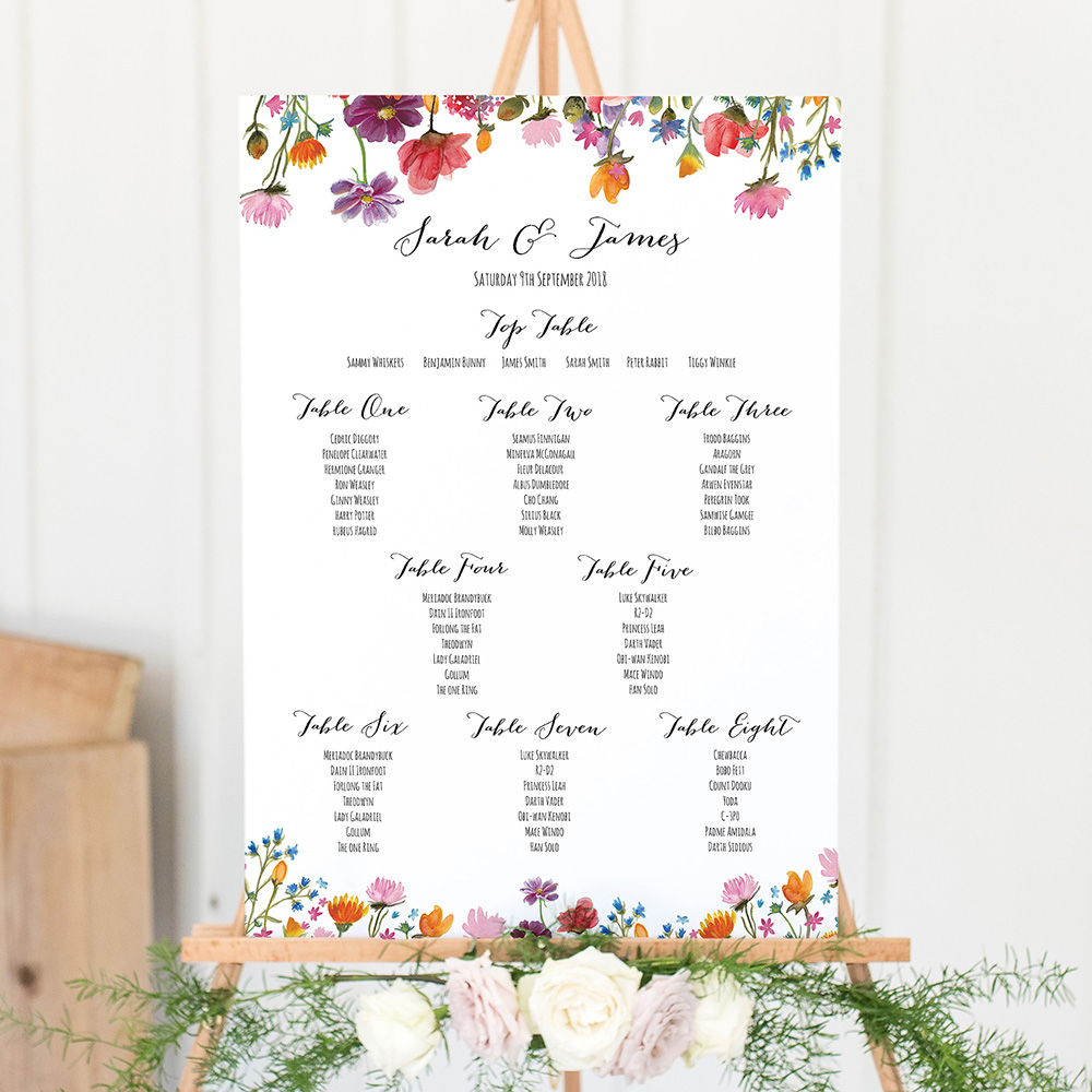 'Wild Floral' Large White Table Plan A2/A1