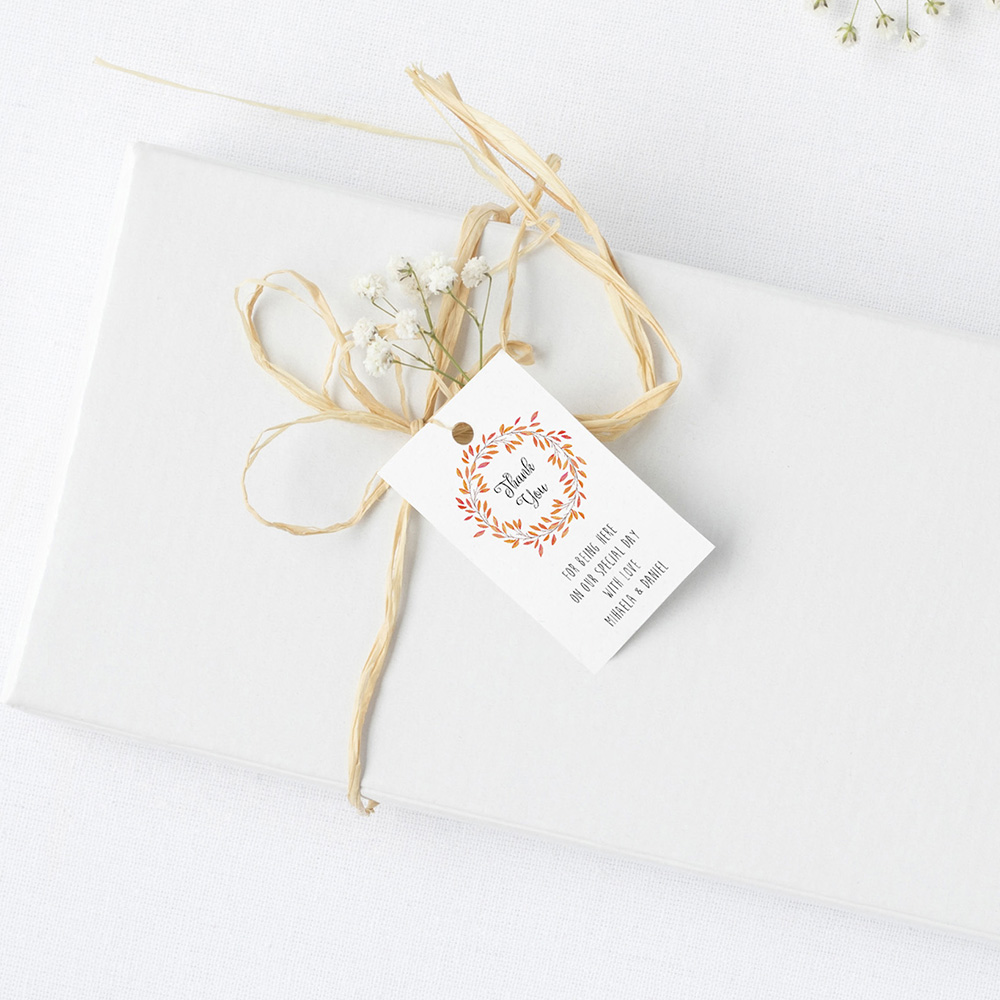 'Autumn Orange' Favour Tags