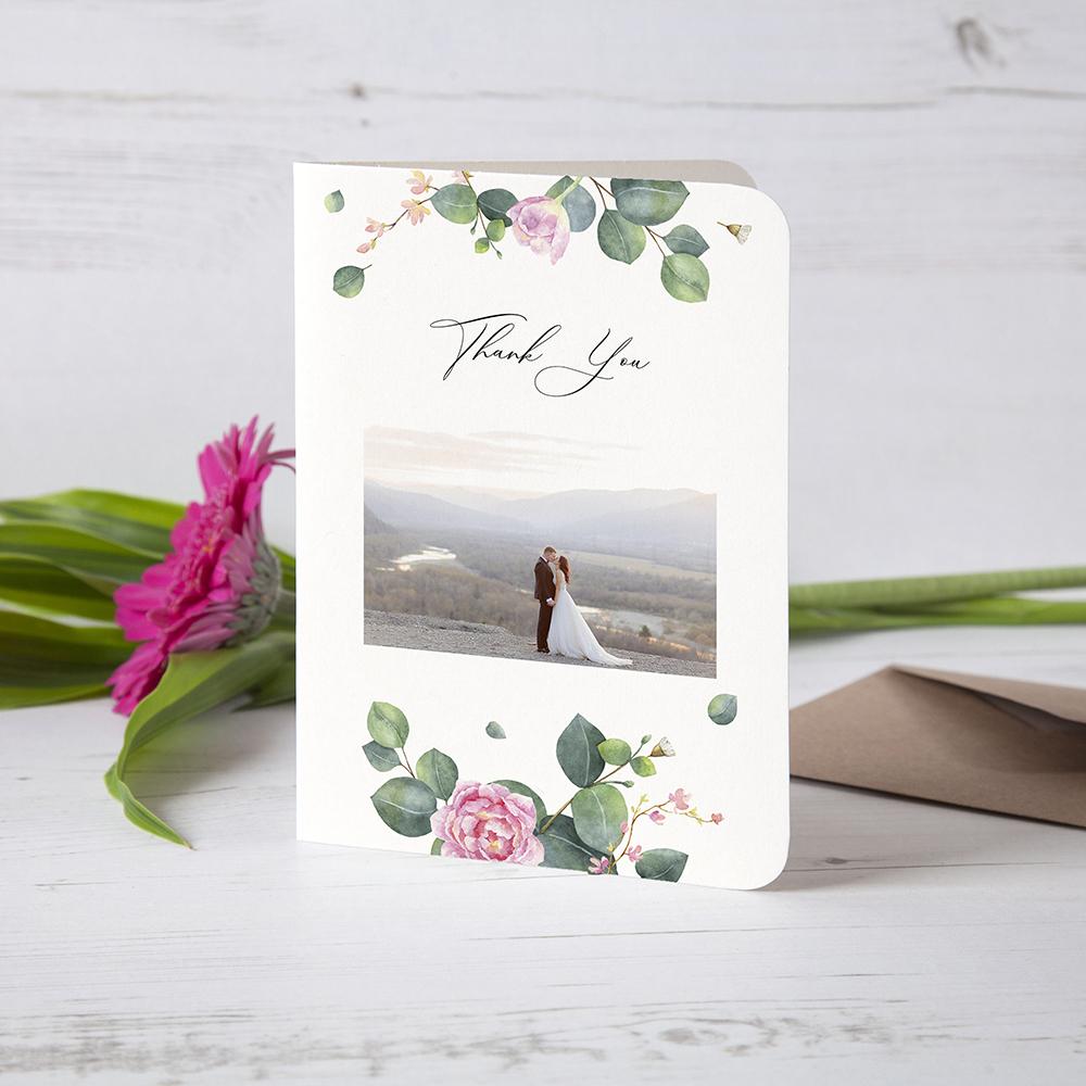 'Eucalyptus Blush' Folded Photo Thank You Card