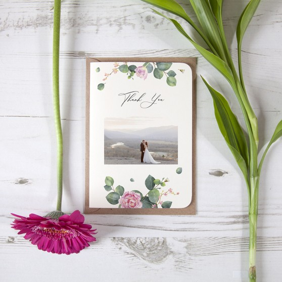 'Eucalyptus Blush' Folded Photo Thank You Card