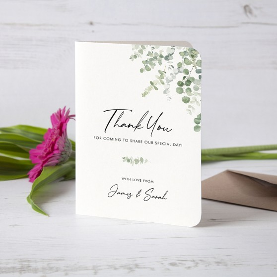 'Classic Eucalyptus' Folded Thank You Card