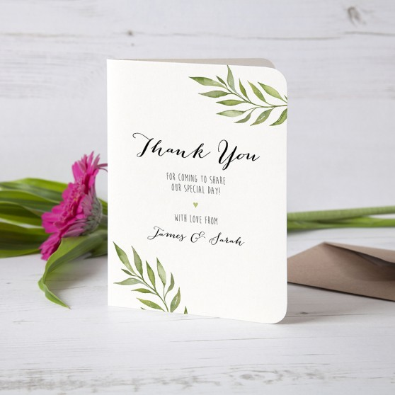'Green Leaf' Folded Thank You Card