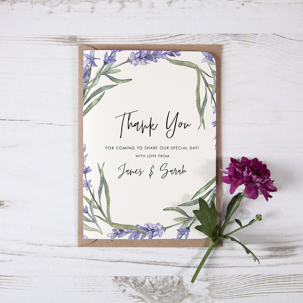 'Lavender' Folded Thank You Card