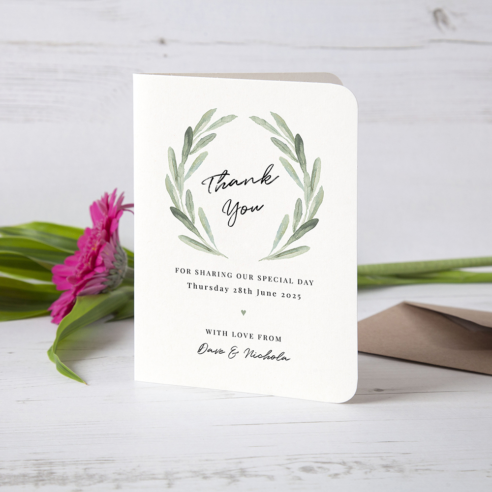 'Olive' Folded Thank You Card