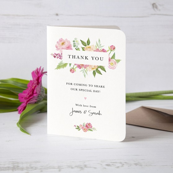'Peony' Folded Thank You Card