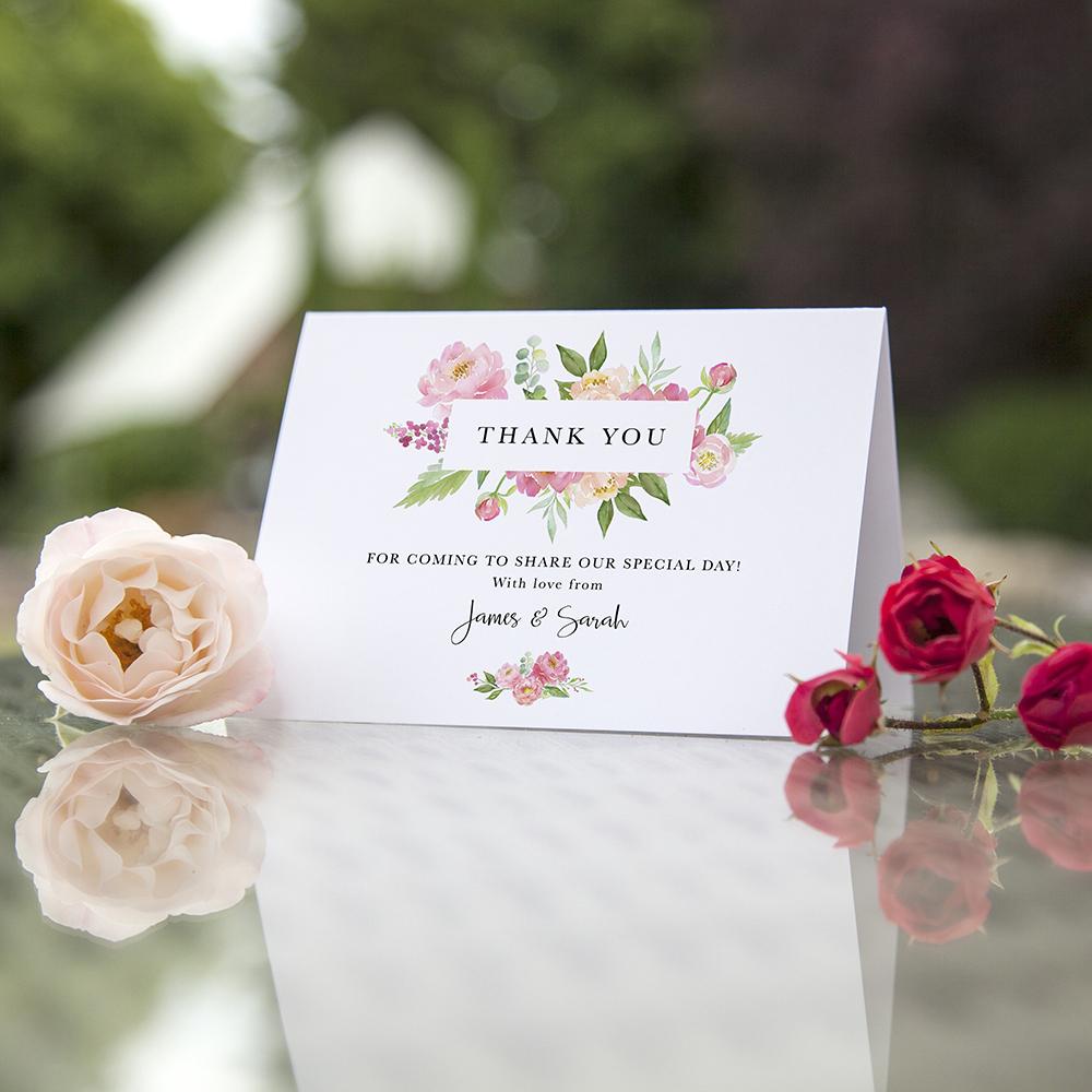 'Peony' Folded Thank You Card