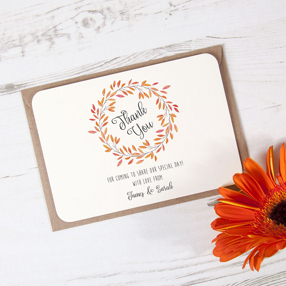 'Autumn Orange' Standard Thank You Card