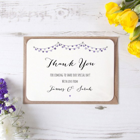 'Purple Flag Bunting' Standard Thank You Card