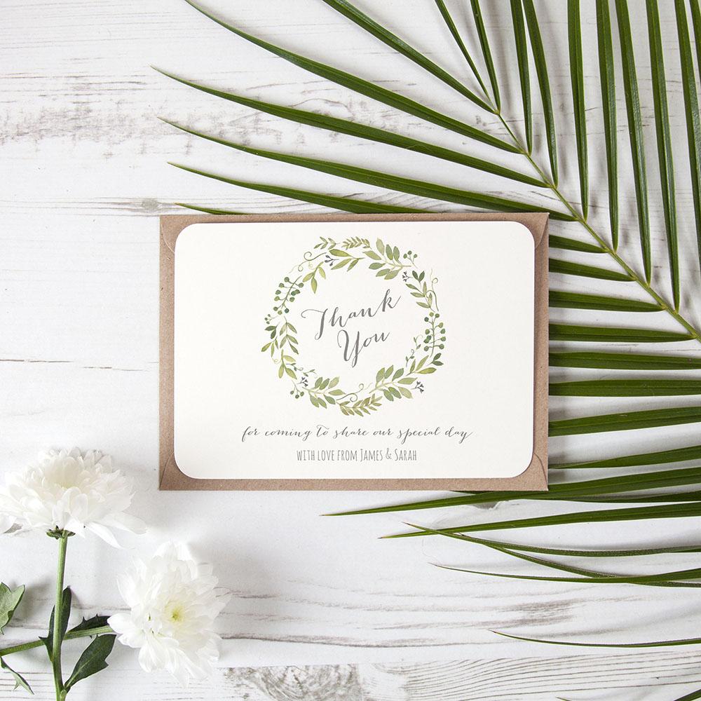 'Green Floral Watercolour' Standard Thank You Card