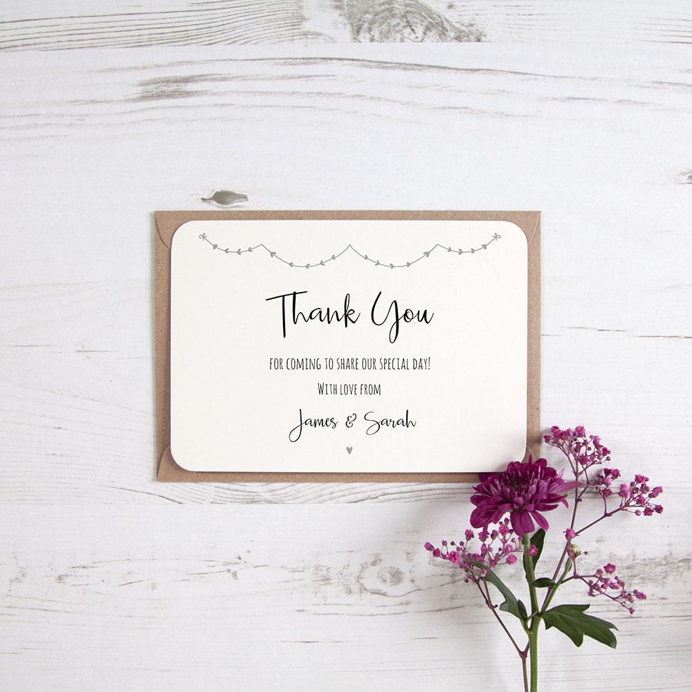 'Grey Heart Bunting' Standard Thank You Card