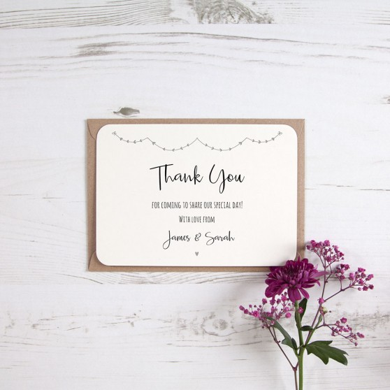 'Grey Heart Bunting' Standard Thank You Card