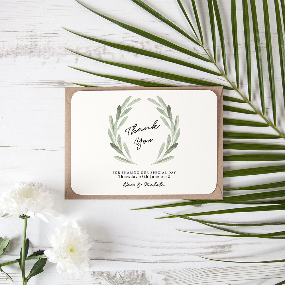 'Olive' Standard Thank You Card