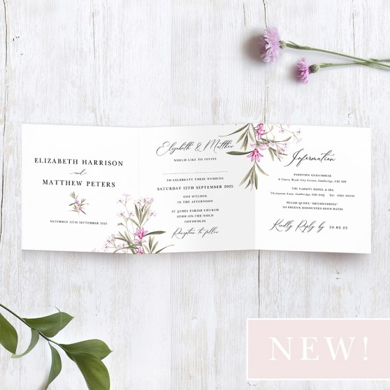 'Pink Botanical' Tri Fold Wedding Invitation