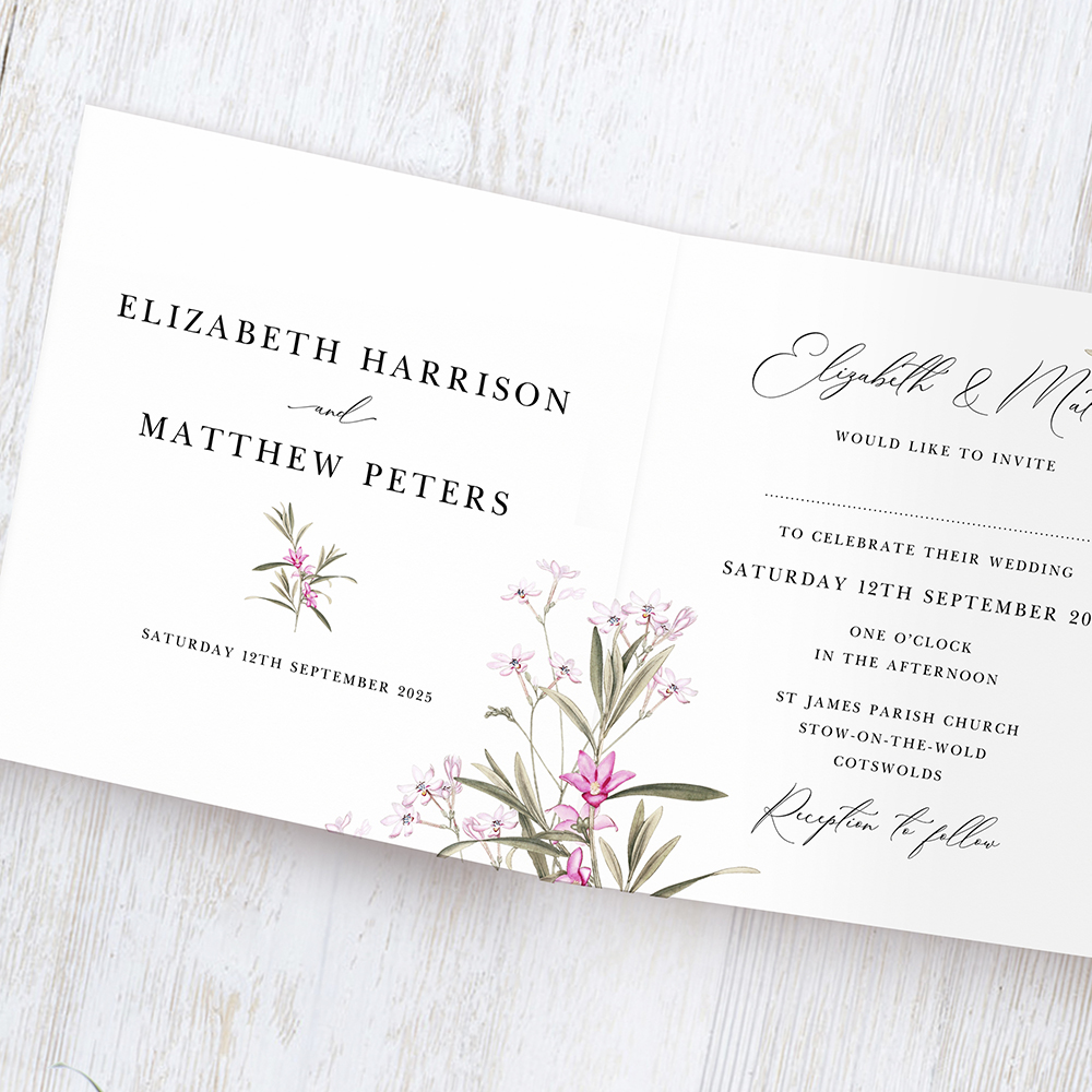 'Pink Botanical' Tri Fold Invite Sample
