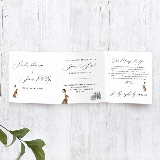 'Christmas Hare' Tri Fold Wedding Invitation