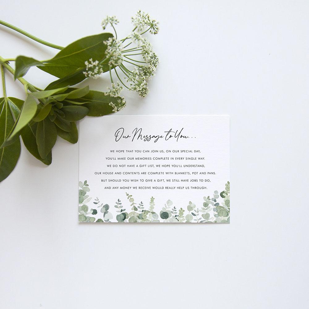 'Classic Eucalyptus' Tri Fold Invite