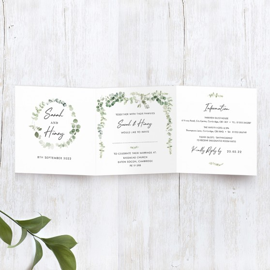 'Classic Eucalyptus' Tri Fold Wedding Invitation Sample