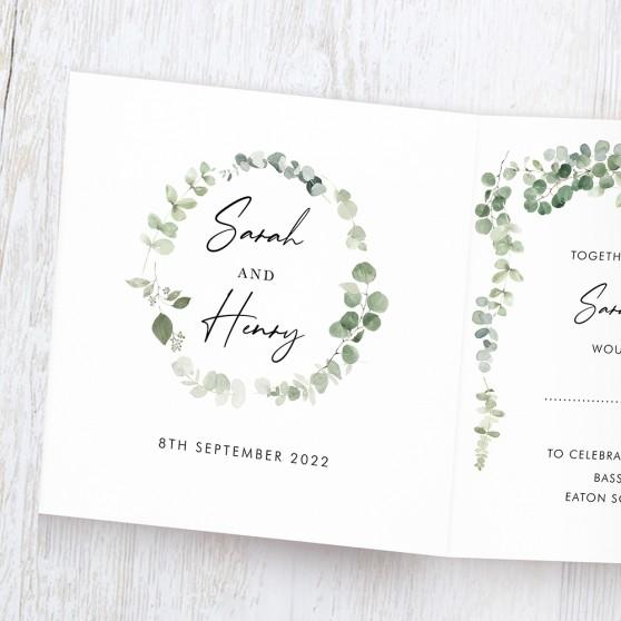 'Classic Eucalyptus' Tri Fold Invite Sample