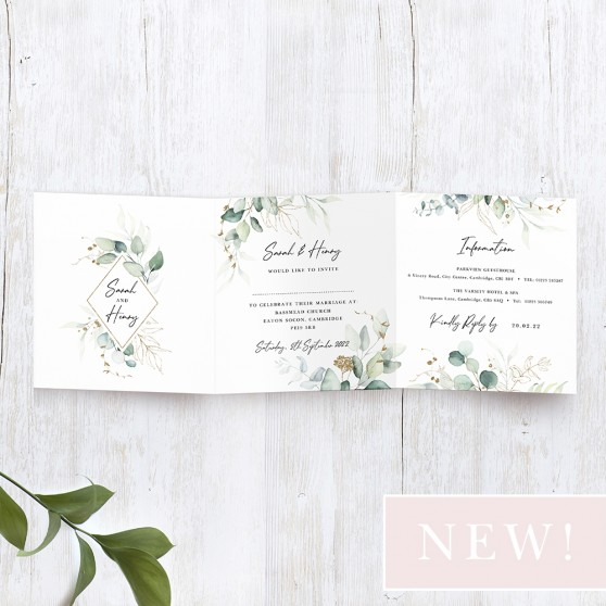 'Green & Gold Eucalyptus' Tri Fold Wedding Invitation Sample