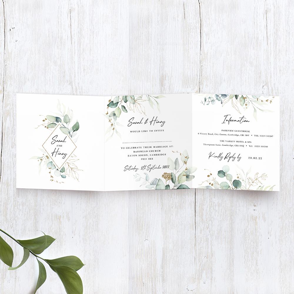 'Green & Gold Eucalyptus' Tri Fold Wedding Invitation