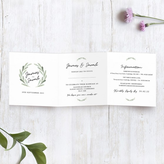 'Olive' Tri fold Invite Sample