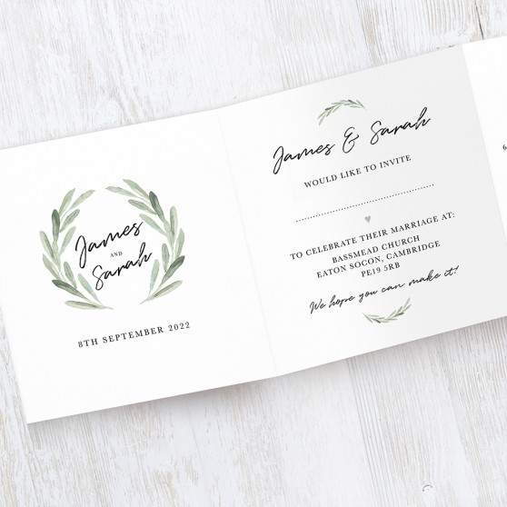 'Olive' Tri Fold Wedding Invitation