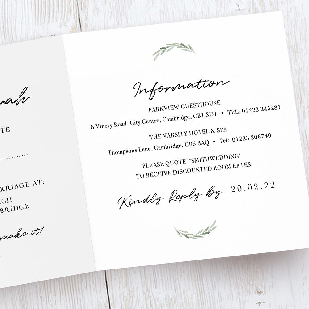 'Olive' Tri fold Invite Sample