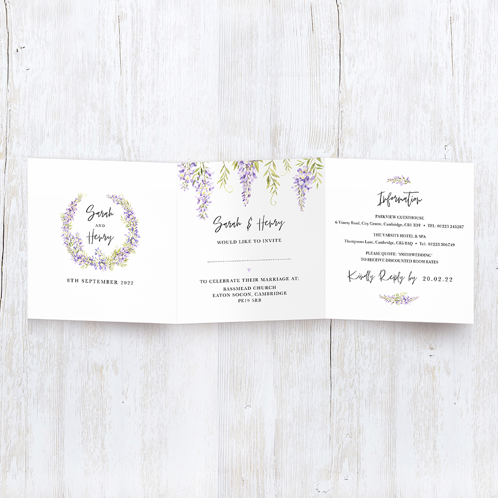 'Wisteria' Tri Fold Wedding Invitation Sample