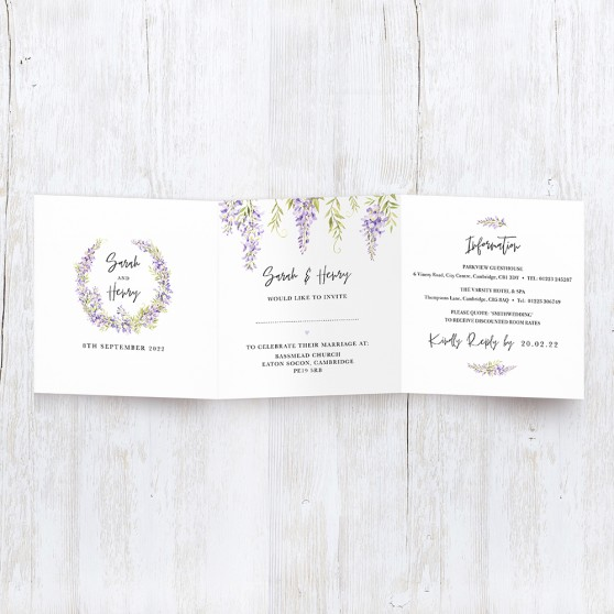 'Wisteria' Tri Fold Wedding Invitation