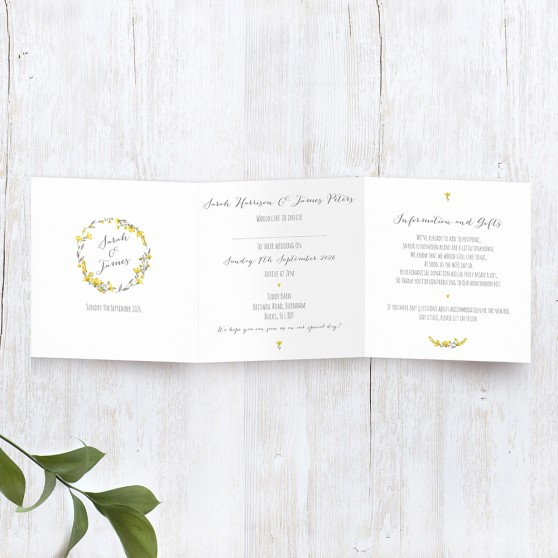'Yellow Floral' Tri Fold Wedding Invitation