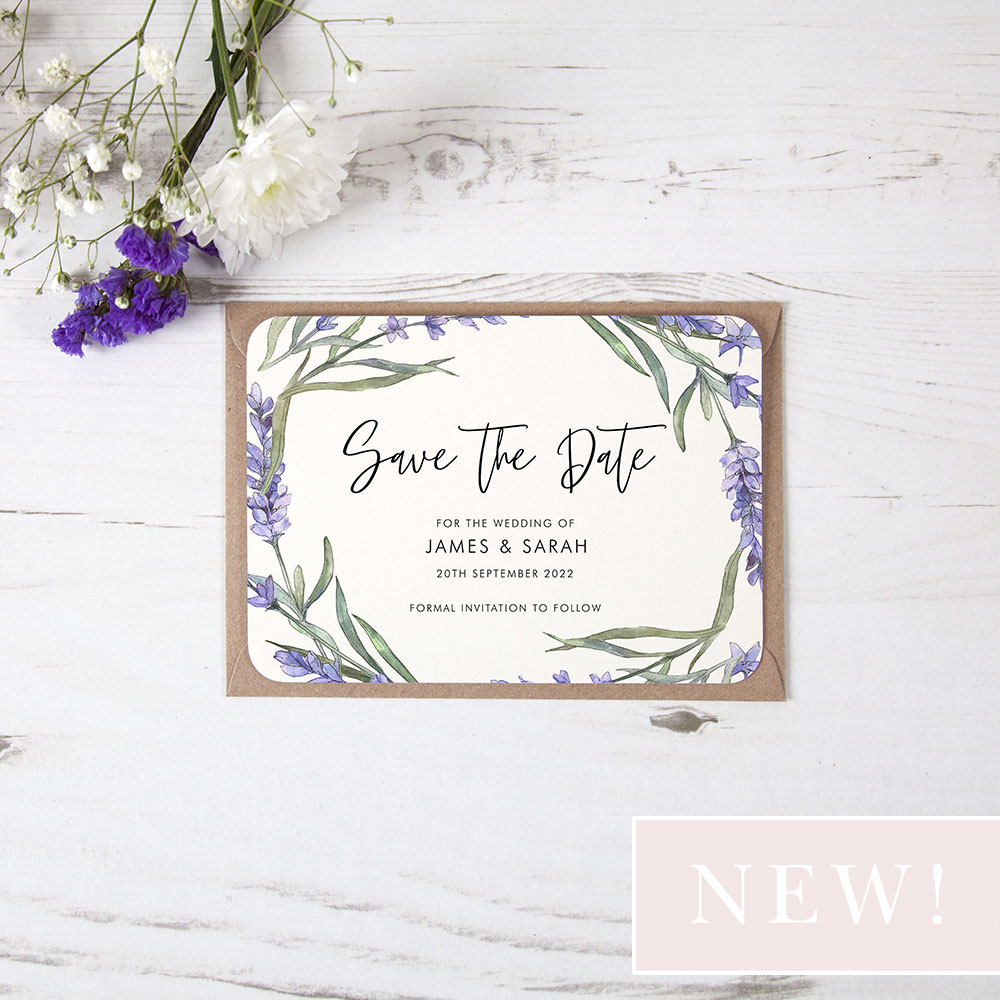 Save The Date Cards Lavender Fully Customisable